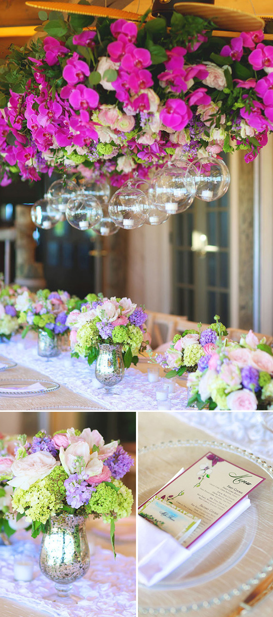 pink and purple wedding isalnd recption