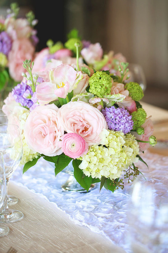 pink purple green centerpieces