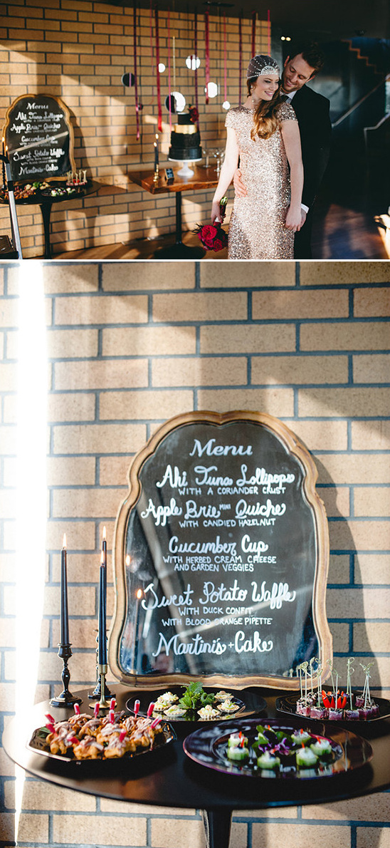 wedding menu written on a mirror