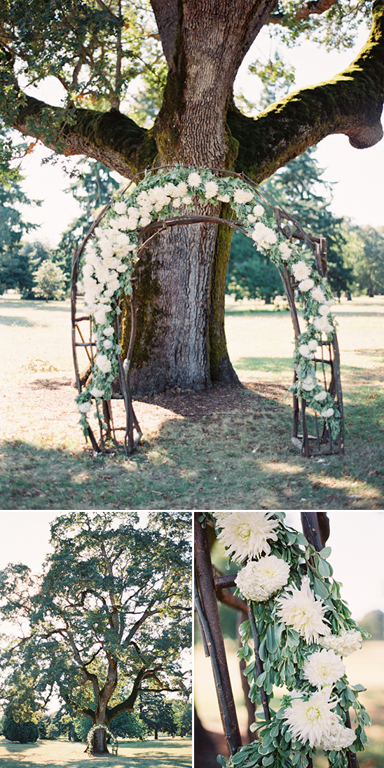 floral drapped wedding arch under a giant tree