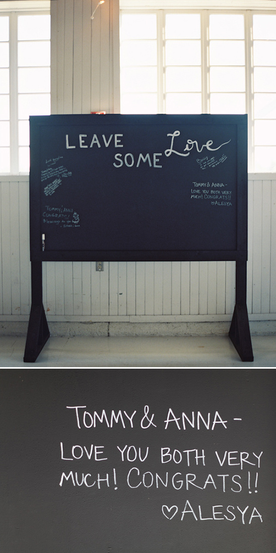 old fashioned chalkboard turned guestbook
