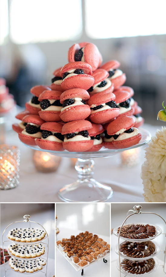 black berry and cream macarons and other assorted desserts