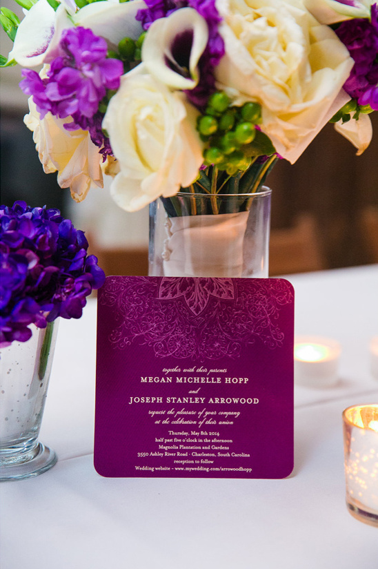 royal purple wedding invite