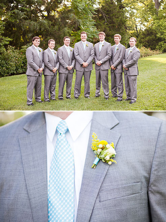 yellow blue and grey groomsmen attire