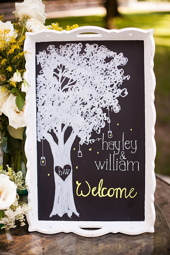 wedding tree welcome chalkboard sign
