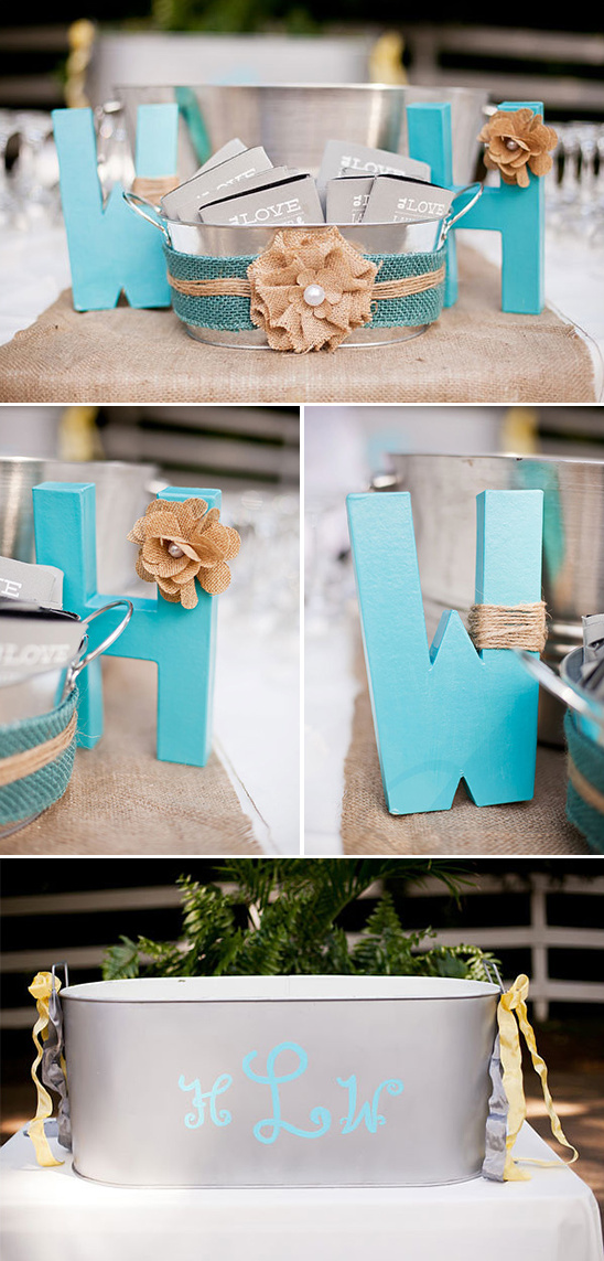 blue monogram letters with burlap