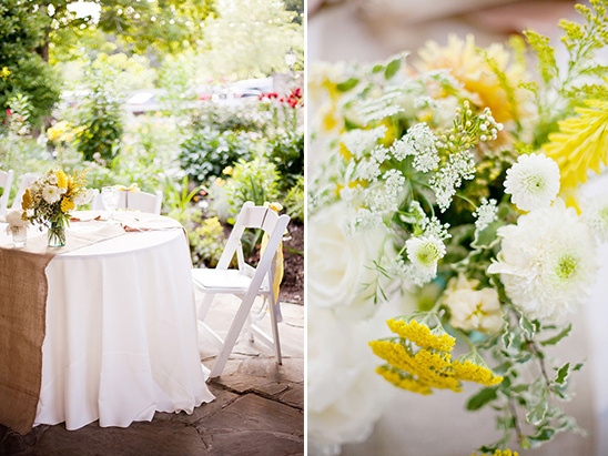 yellow and white floral centerpiecespastel and burlap reception