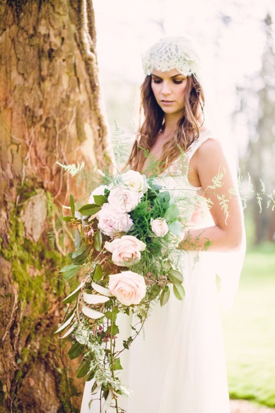 loose cascading rose and greenery bouquet