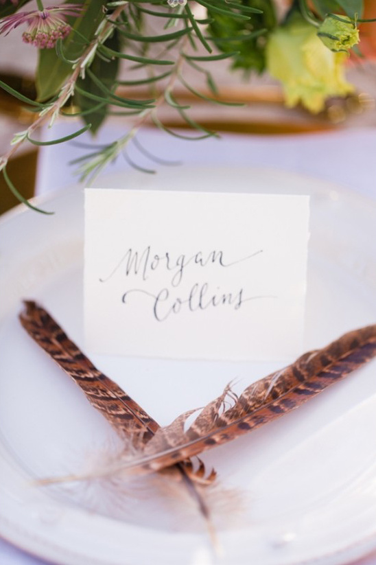feather embellished place settings