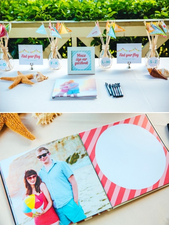 guestbook table and escort card flags
