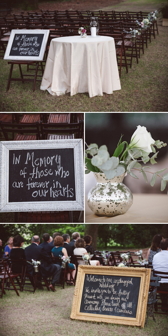 unplugged wedding sign and memorial sign