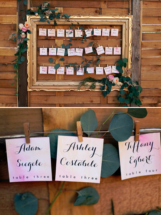 watercolor escort card display