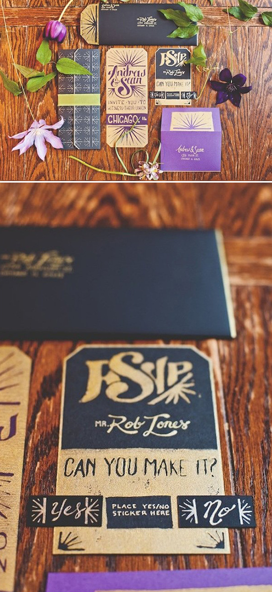 purple gold and black wedding stationery suite