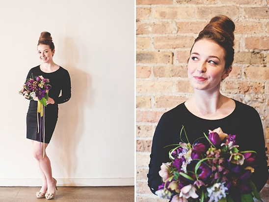black and purple bridesmaid attire