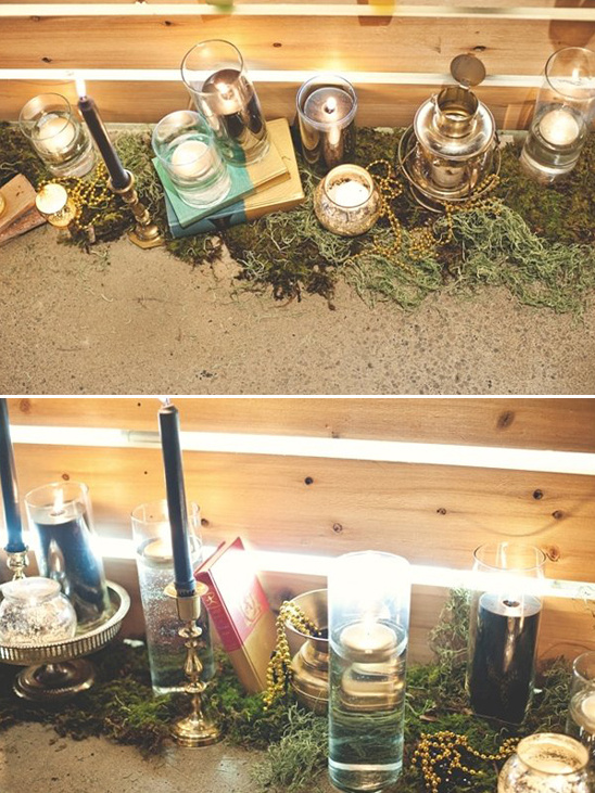 books and candles wedding decor