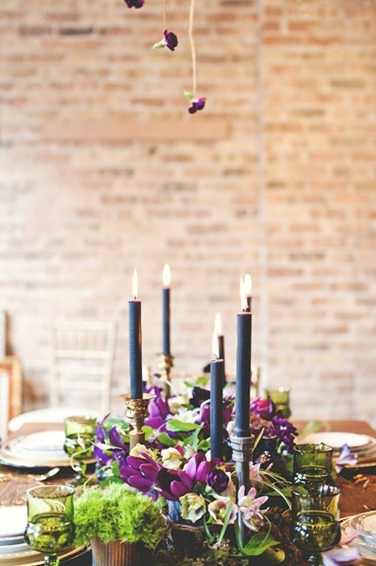 black purple and green tablescape idea