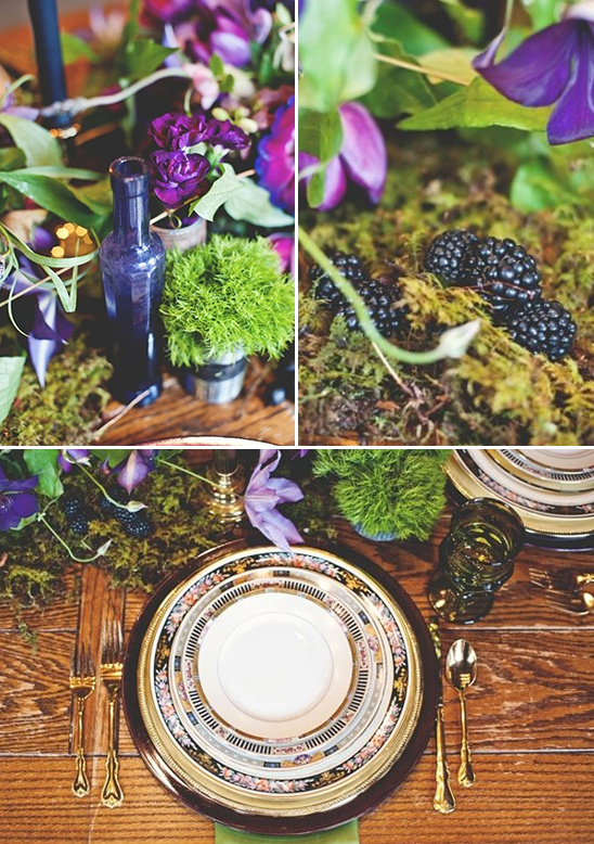 purple and green tablescape ideas