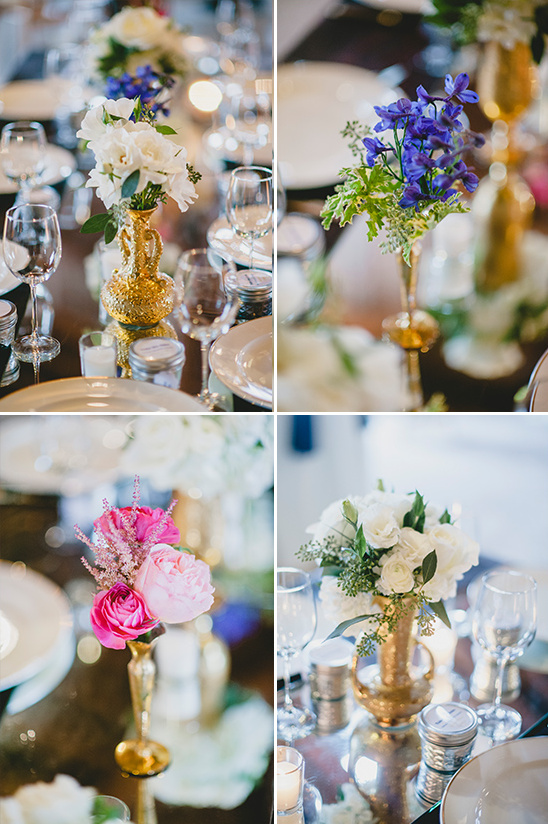 gold pink and purple centerpieces