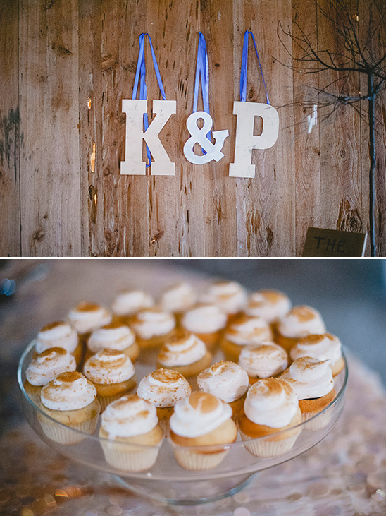 hanging initials and salted caramel cupcakes