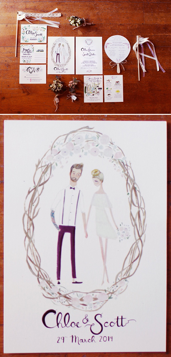 watercolor portrait wedding stationery