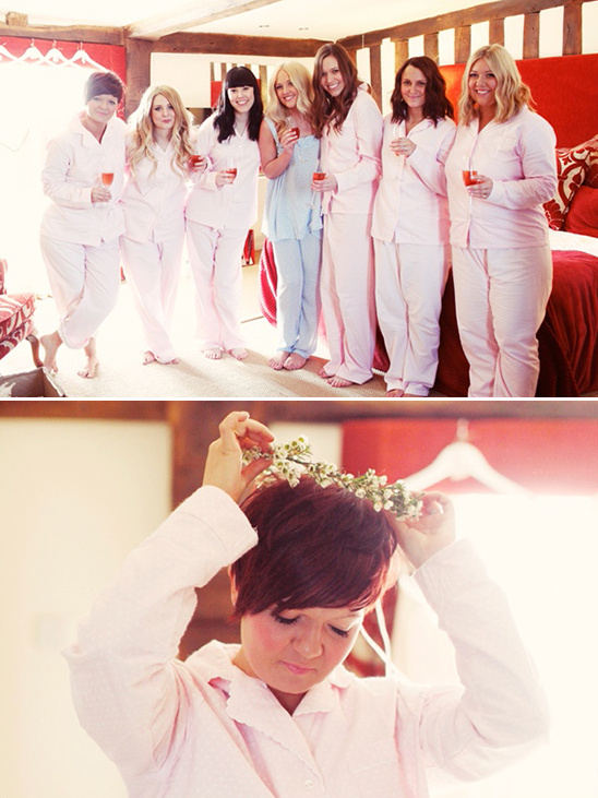 bridesmaids pajamas and floral crowns