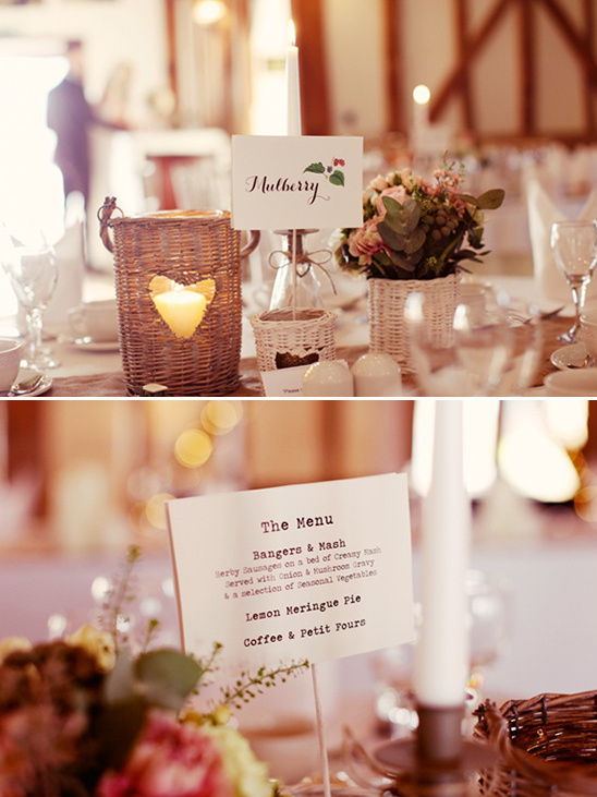menu on the back of table names
