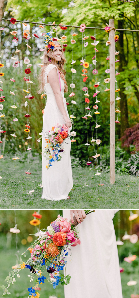 wildflower bouquet and hanging flower backdrop