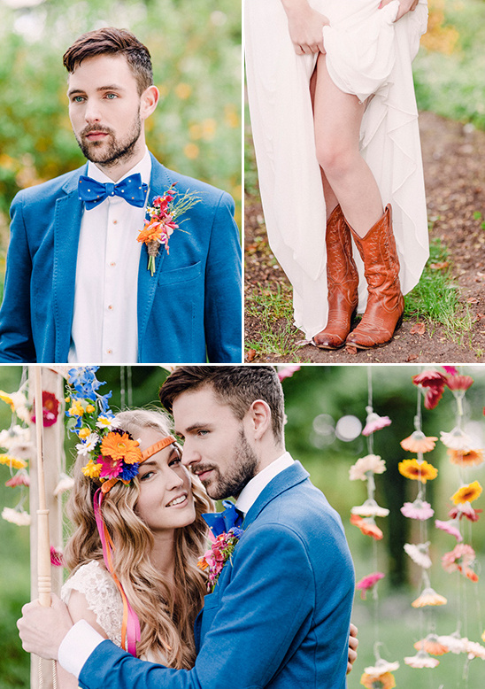 funky spring wedding shoot