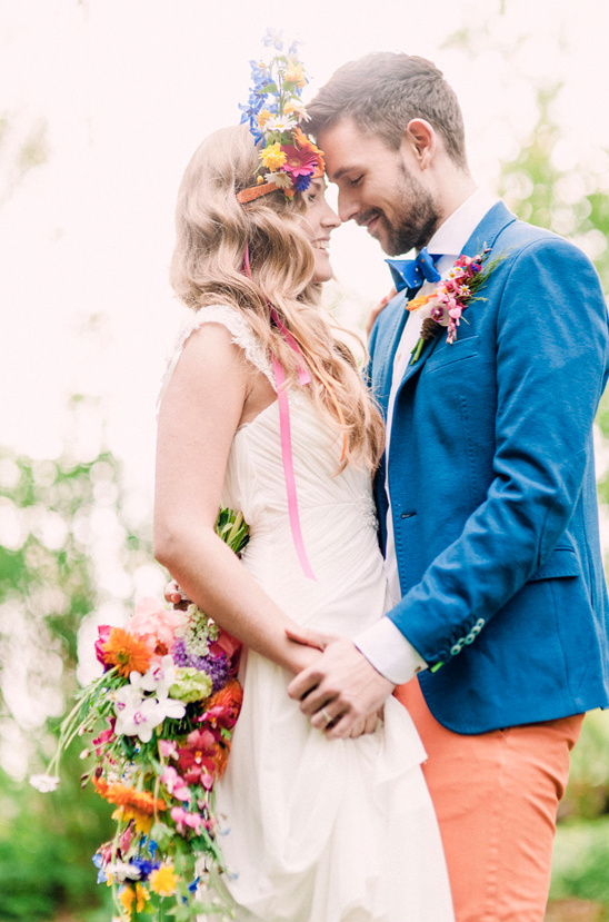 bright spring wedding couple