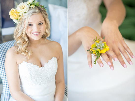 yellow floral bridal accessories