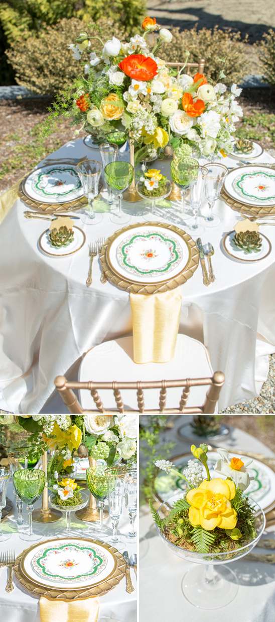springtime outdoors reception table ideas