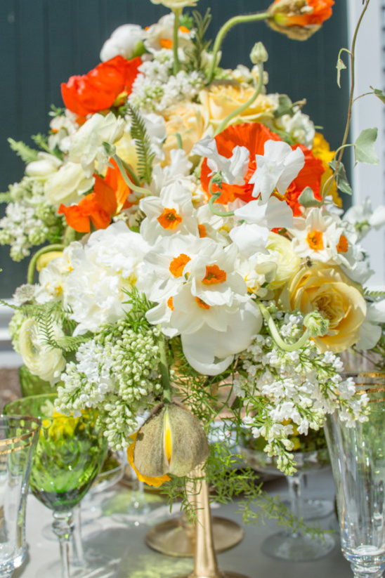 bright spring floral centerpiece