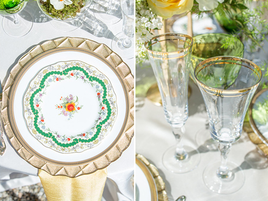 gold accented table settings