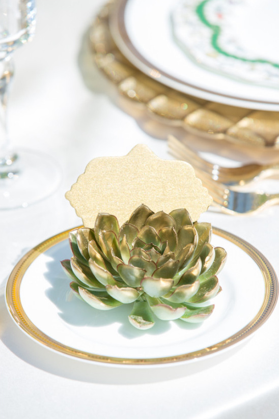 gold tipped succulent placecards