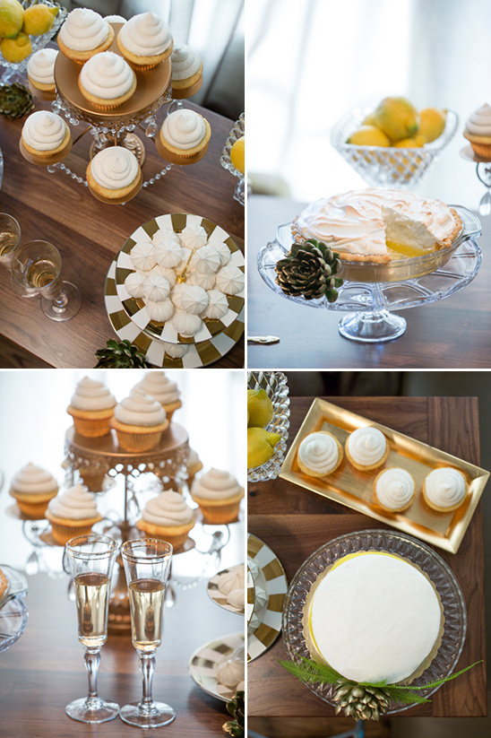 yellow and white wedding desserts