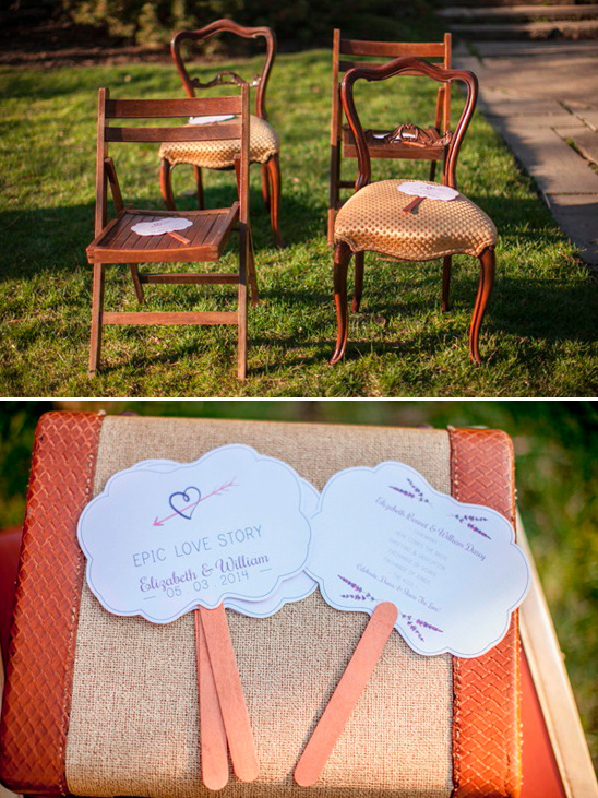 mix and matched wedding chairs and cute program fans
