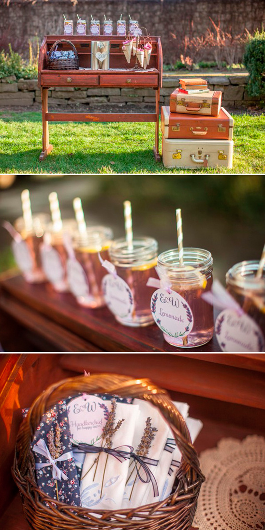 ceremony welcome table with lemonade and handkercheifs