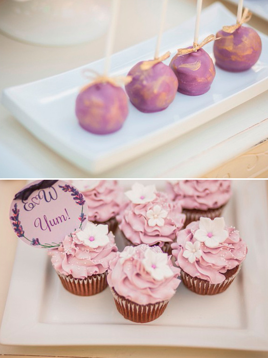 yum cupcakes and purple and gold cake pops