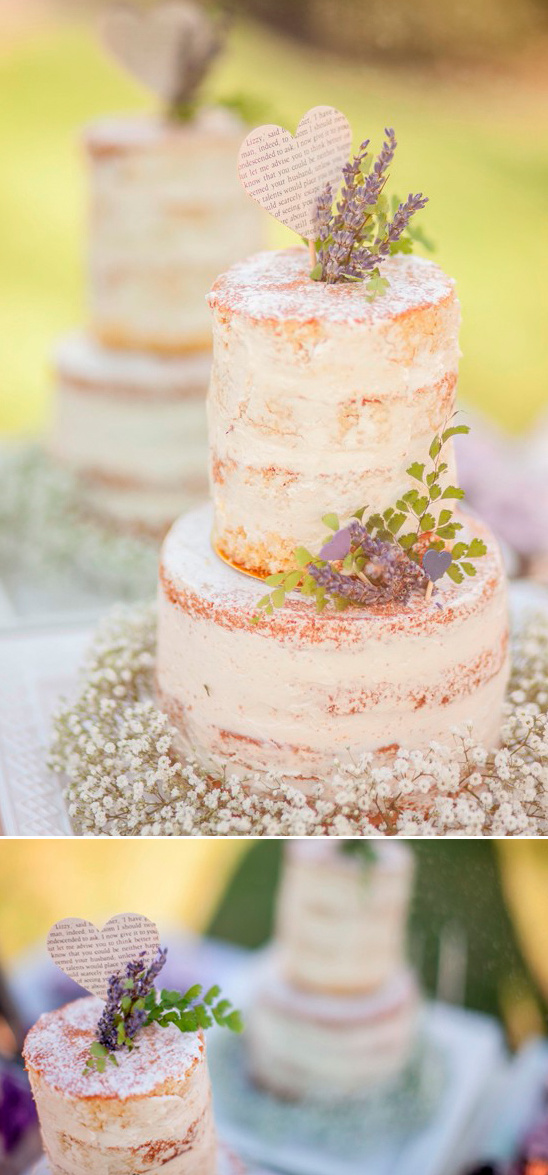 lavender and book page heart topped naked cake