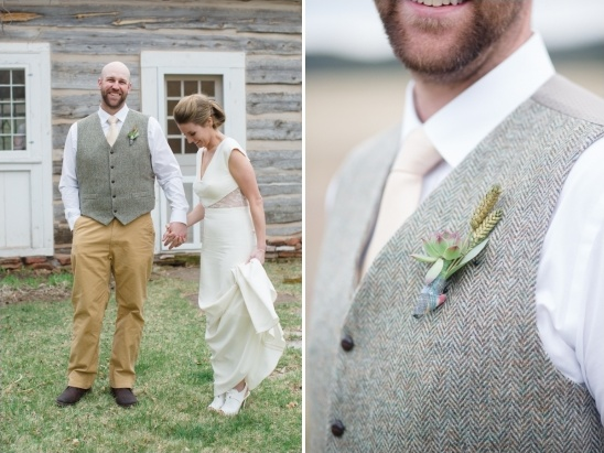 tweed vest and tan pants groom look