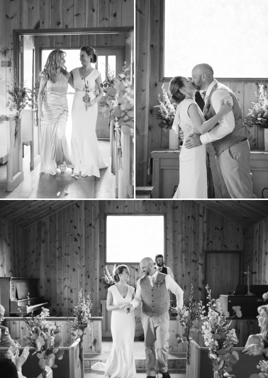 small family sized wedding in rustic chapel