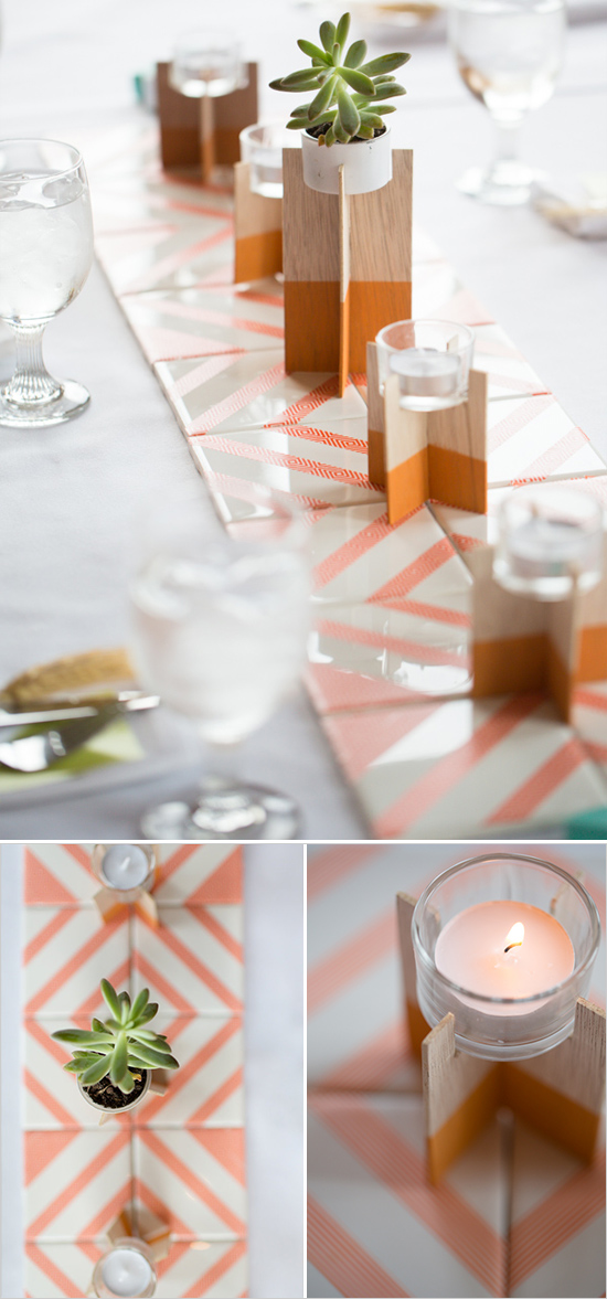 washi tape and tile runners