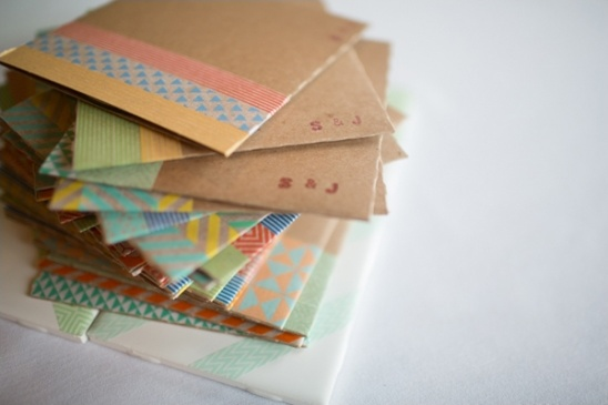 washi tape decorated cd holders