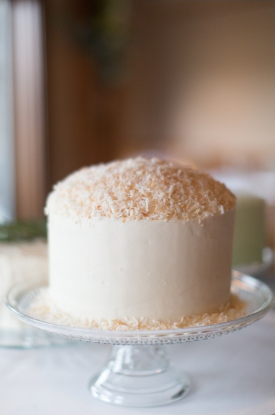 coconut topped wedding cake