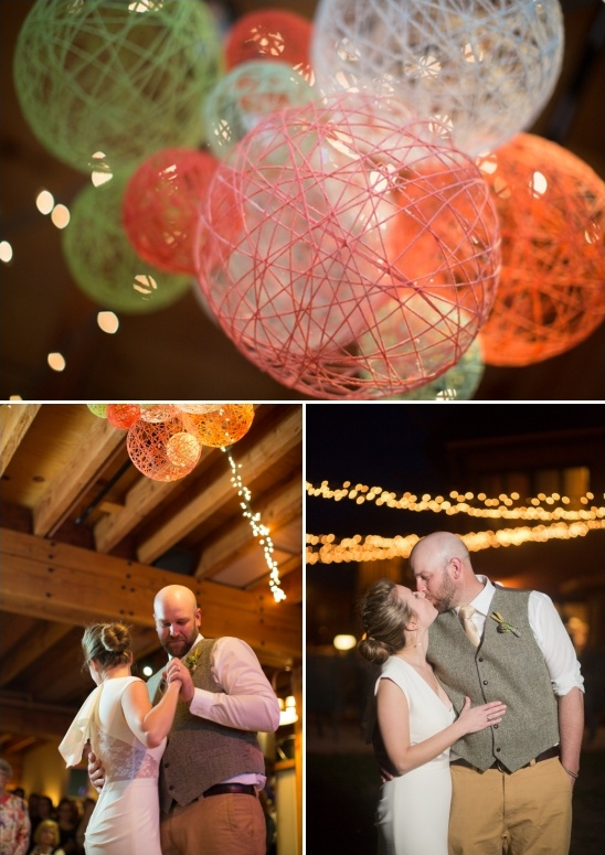 string lights and yarn ball decorations