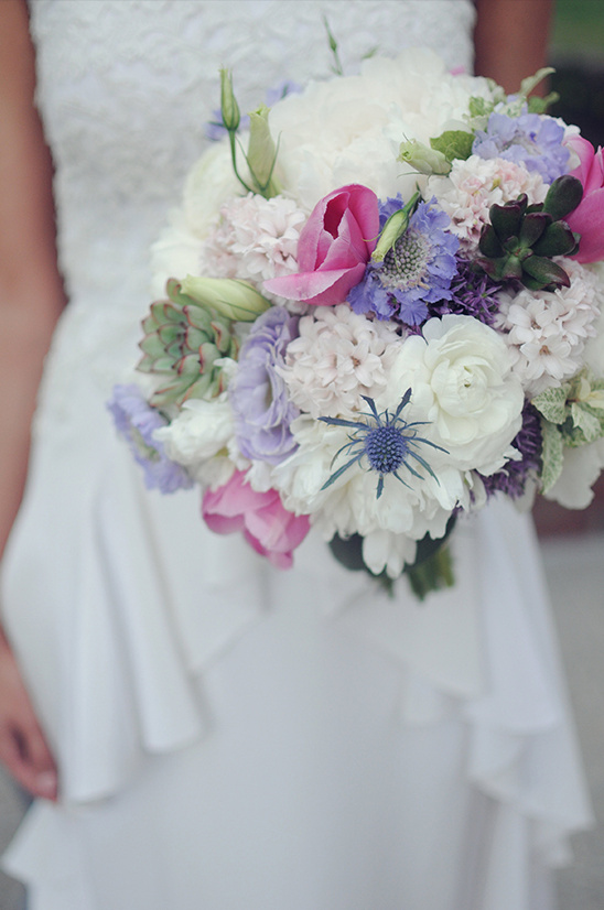 white and purple wedding floral bouquet