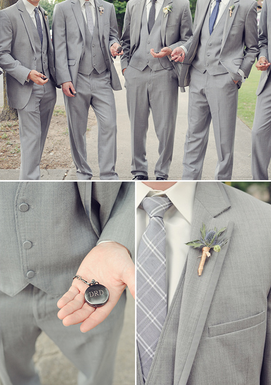 groomsmen pocket watches and boutonnieres