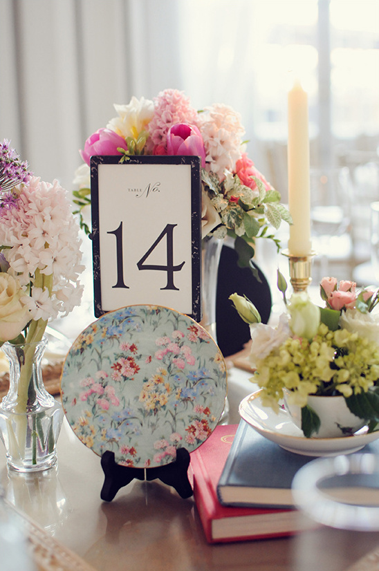 vintage dish and floral centerpieces
