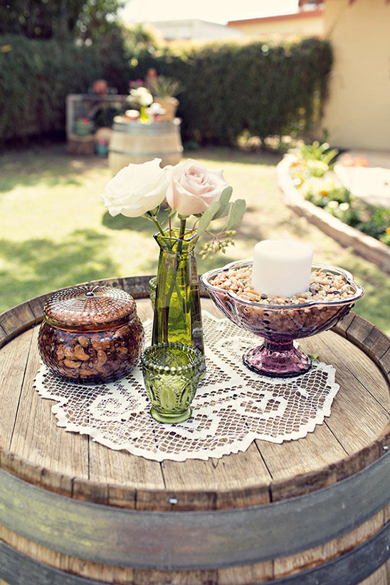 nut jar florals and candles