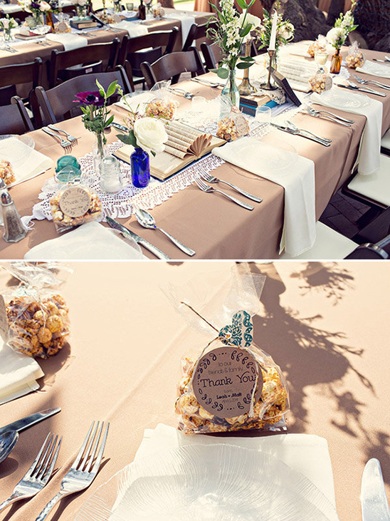 book centerpieces and popcorn favors